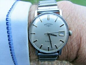 Vintage Rotary Swiss Made 21J Gents H/W Watch -Date -Good 4 Age/Running Fast
