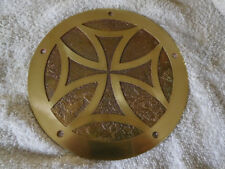 HARLEY TWIN CAM DERBY COVER - ALL BRASS - iron cross - etched deep