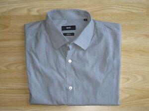 Mens HUGO BOSS Jenno Sz 42/16.5 Dot Pattern Grey Stretch Shirt Top Slim Fit VGC