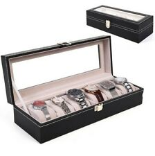 New 6 Slot Leather Watch Box Display Case Organizer Glass Top Jewelry Storage +