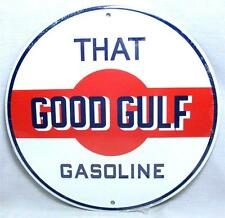 "That Good GULF Gasoline Oil Service Station Gas Pump 12"" Round Metal Retro Sign"