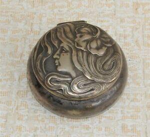 Versilberte WMF Jugendstil - Pillendose mit Hirschhorn Marke um 1900
