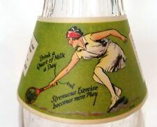 Dairy Advertising, Milk Bottle, Paper Collar, Lady Tennis Player.  U.S.A