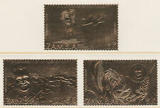 Zambia 4353 - 1985 ANNIVERSARY SET OF 3 EMBOSSED IN GOLD FOIL unmounted ,mint