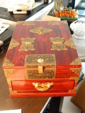 BEAUTIFUL Asian Chinese Lacquer Jewelry Box Metal Details Slide Up Mirror Drawer