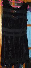 Out Of Gas - Ladies Black velvet look skater dress -  Size UK 14 - Used Good