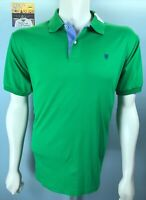 Mens LINCS DC & Co XL SS St. Patrick Green Shimmer Polo Shirt Oxford Blue Trim