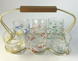 Vintage Atomic Shot Glasses in Rack Set of 6 Different Colors Retro '50s Barware