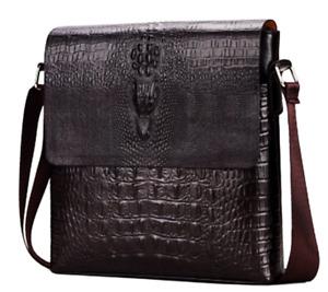 Men Crossbody Messenger Bag Shoulder Leather Crocodile Casual Business Satchel