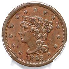 1845 N-12 R-3 PCGS AU 53 Braided Hair Large Cent Coin 1c