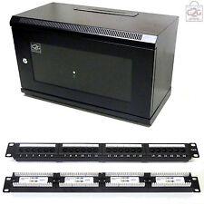 6U Black 300mm Data Cabinet + Cat6 Patch Panel Network Data LAN Comms Wall Rack