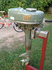 Vintage 1948 Elgin Outboard Boat Motor 1.25 HP RUNS GREAT & TITLE Sears / Stand