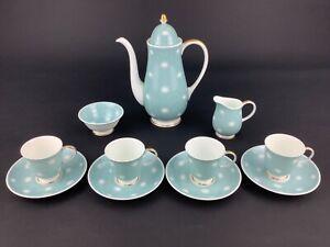 Susie Cooper MCM Turquoise Starburst 12-Piece Demitasse Coffee Set for FOUR (4)