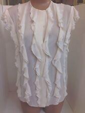 Chloe Blouse Milk White Short Sleeve Ruffle Front Silk Size 34 NWT $1495