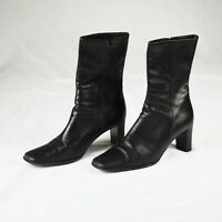 Coach Bacara Black Genuine Grain Leather Boots Made in Italy Sz 9.5 EUC