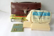 VINTAGE OLD EMPTY SMALL BROWN LEATHER DOCTOR BAG DOCTORS LEATHER BOX marked