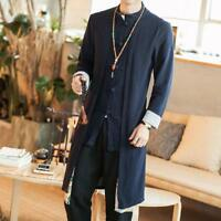 Chinese style jacket mens Cotton Linen Long Retro Trench Coat casual Outwear SZ
