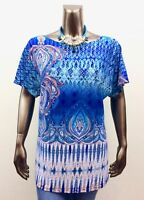 CHICO'S *NEW SIZE 2 (L) BLUE DAMASK ROUND NECK DOLMAN SLV TOP