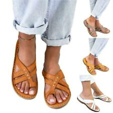 Womens Wide Fit Flat Sandals Wedges Shoes Size Slippers Ladies Flip Flops Mules
