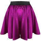 27 Colors Women Girl Satin Short Mini Dress Skirt Pleated Retro Elastic Waist