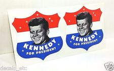 PAIR OF 3 INCH President Kennedy Vintage Style DECALS / Vinyl STICKER