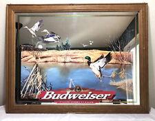 Budweiser Beer Mirror- Large 36�x28� Framed Wall Hanging. Duck Ducks Waterfowl.