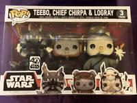 Funko POP! Star Wars Walmart EXCLUSIVE Teebo, Chief Chirpa And Logray Vinyl Set
