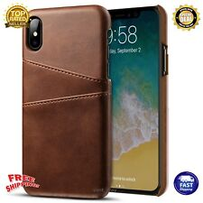 iPhone X 10 Case Ultra Slim Business Leather Shockproof Wallet Cover Card Holder