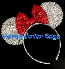 Minnie Mouse Headband Sparkly Silver Ears Sequin Red Bow Child Adult Party Favor