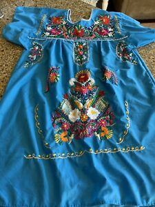 Mexican Dress Embroidered FLORAL Fiesta boho peasant festival XL Turquoise