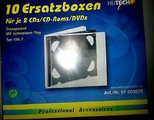 Leerhüllen für 2 CD's (Kunststoff transparent mit schwarzem Tray) 10er-Pack