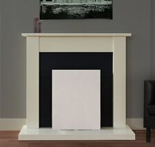 ELECTRIC BLACK IVORY FIREPLACE SURROUND SET IVORY BACK PANEL FOR ELECTRIC FIRES