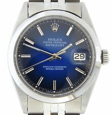 Rolex Datejust Mens Stainless Steel Watch Smooth Domed Bezel Blue Vignette Dial