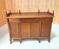 Dollhouse Miniature Wooden Walnut Display / Side Cabinet
