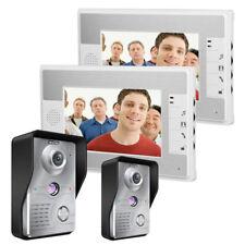 """7""""LCD Video Door Phone Doorbell Intercom Kit 2-IR Camera 2-Monitor Night Vision"""
