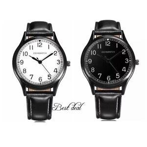 Mens Watches Quartz Analogue Gents Black Faux Leather Wrist Watch Casual Fashion