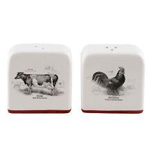 Clayre & Eef Salz & Pfeffer Streuer Set Keramik Hahn und Kuh Landhaus Shabby