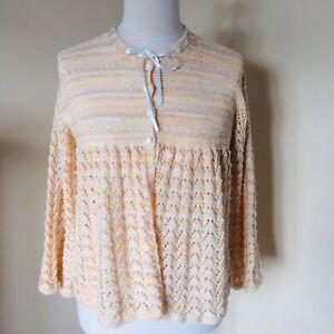 Vintage Hand Knitted Bed Jacket Cardigan Cottagecore Pointelle Lace Knit Medium