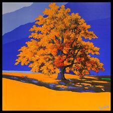 Robin de la dorada árbol póster imagen son impresiones artísticas con marco de aluminio en negro 70x70cm