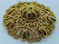 Vintage Crown Trifari 1950s Large Gold Tone Triple Tier Filigree Brooch