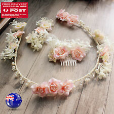 Women Wedding Bride Pink beige Pearl hair head headband + comb clip garland Prop
