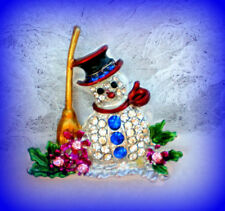FROSTY THE SNOWMAN RHINESTONE & ENAMEL SILVER PIN BROOCH CHRISTMAS GIFT FOR HER