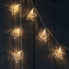20 LED Silver Geometric Star Battery Operated Xmas Bedroom Fairy String Lights