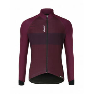 Santini Colle Long Sleeve Cycling Jersey in Bordeaux