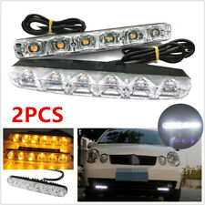 2Pcs 6 LED Car SUV DRL Daytime Running Light Daylight + Amber Turn Signal Lamp