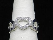 14k White Gold  15 Diamonds Ring 5 Hearts Band