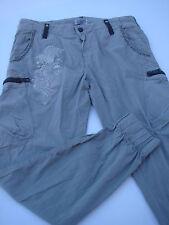 femme : Pantalon cargo brodé beige marque RARE  matilde charcoal   V1411