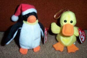 TY Jingle Beanies Quackers Duck and Zero Penguin Adorable