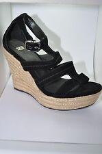 UGG Ante Negro Con Tiras De Cuña Zapatos Sandalia De Plataforma - Tamaño 9