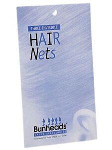BUNHEADS INVISIBLE HAIR NETS (3 Per Pack) 5 Hair shades/Colours